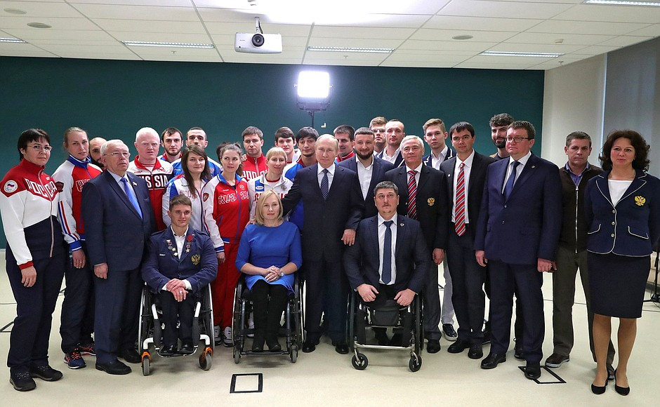 PRESIDENT OF THE RUSSIAN FEDERATION VLADIMIR PUTIN IN SOCHI, WITHIN THE FRAMEWORK OF THE INTERNATIONAL DAY OF DISABLED PEOPLE, MET WITH PARALYMPIC ATHLETES IN THE LEAD OF VLADIMIR LUKIN AND PAVEL ROZHKOV