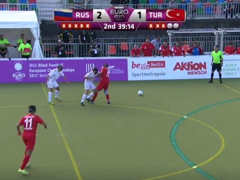 Сборная команда России на старте чемпионата Европы по мини-футболу 5х5 (класс В1, тотально слепые) в Германии обыграла действующего обладателя титула - команду Турции