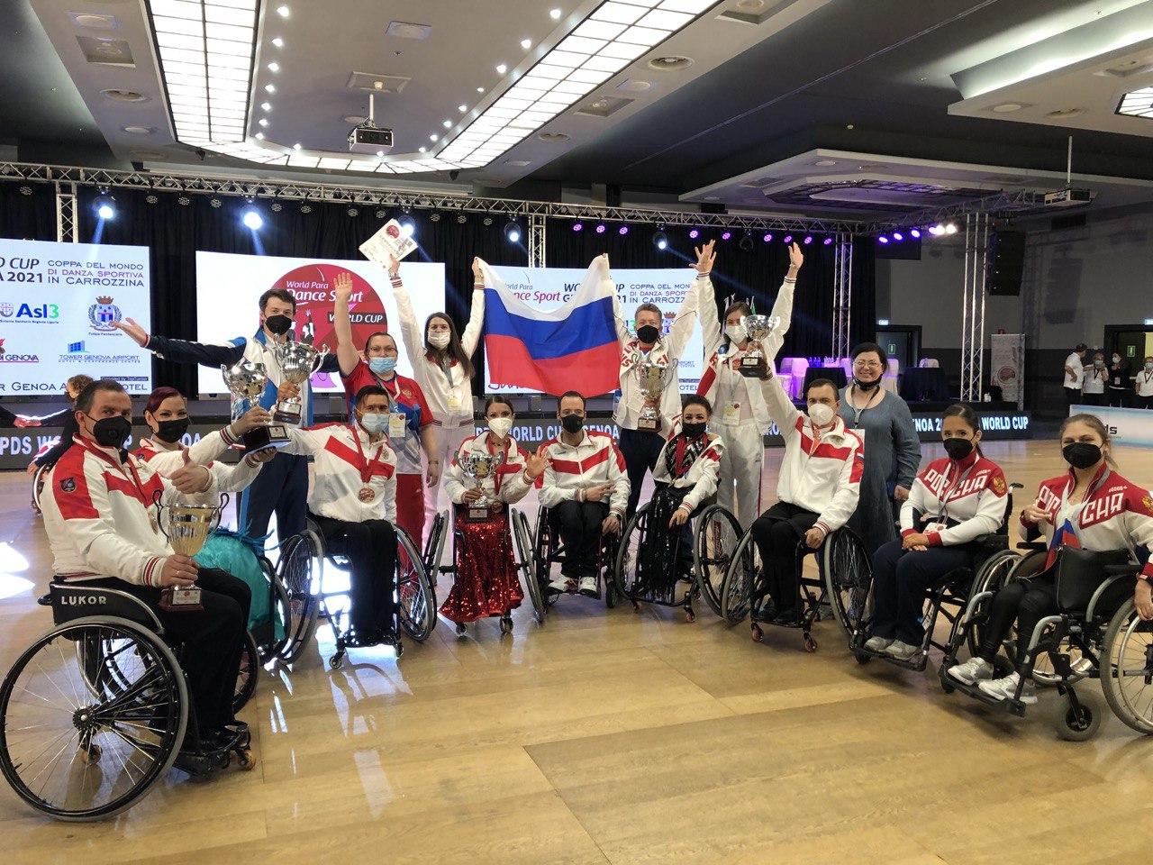 Сборная команда России завоевала 7 золотых, 5 серебряных и 3 бронзовые медали на Кубке мира по танцам на колясках в Италии