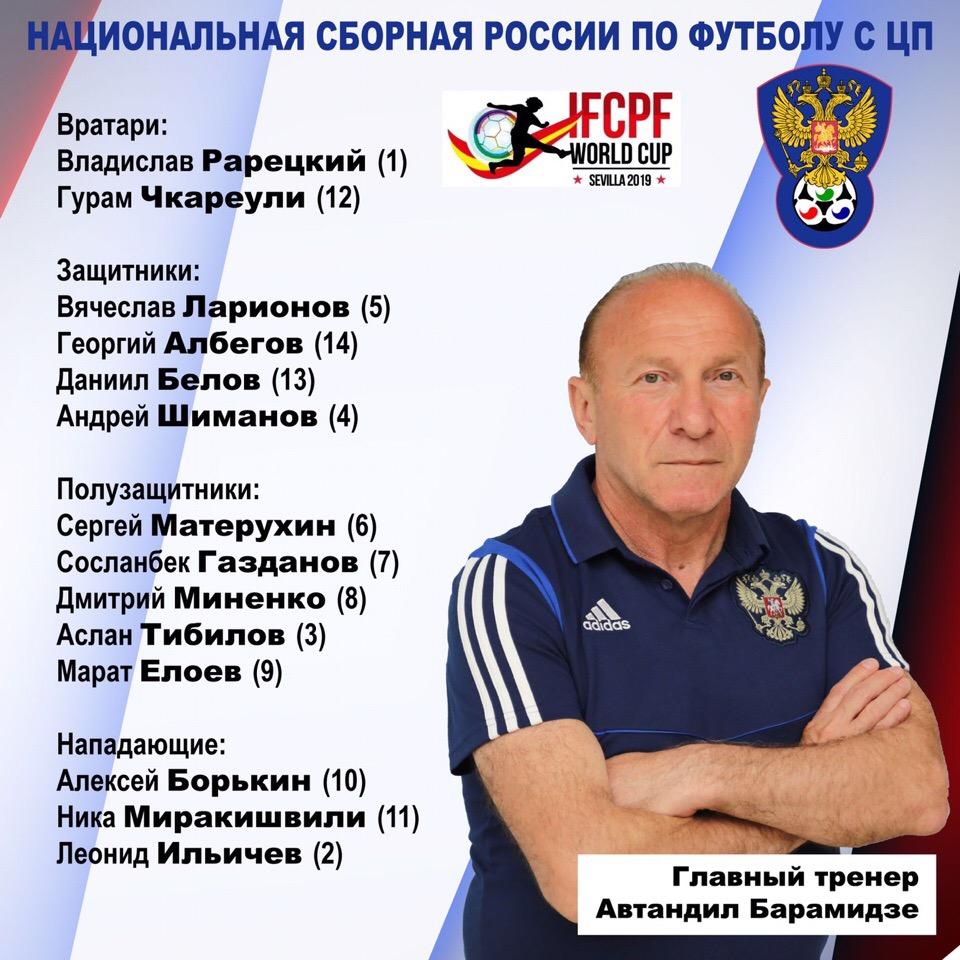 Определен состав сборной команды России по футболу лиц с ЦП для участия в чемпионате мира в Испании