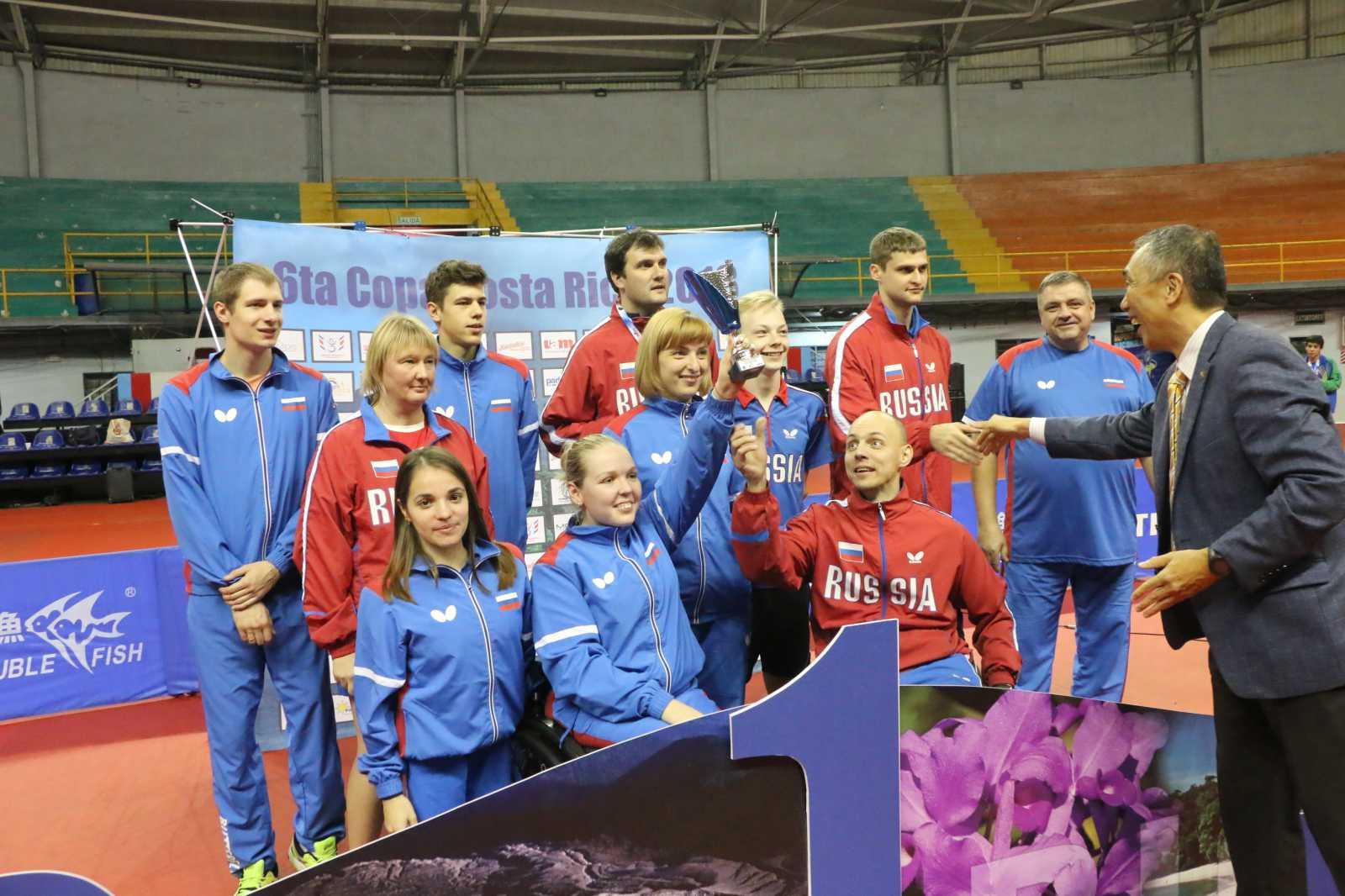 Сборная команда России по настольному теннису спорта лиц с ПОДА завоевала 10 золотых, 1 серебряную и 2 бронзовые медали на международных соревнованиях в Коста-Рике