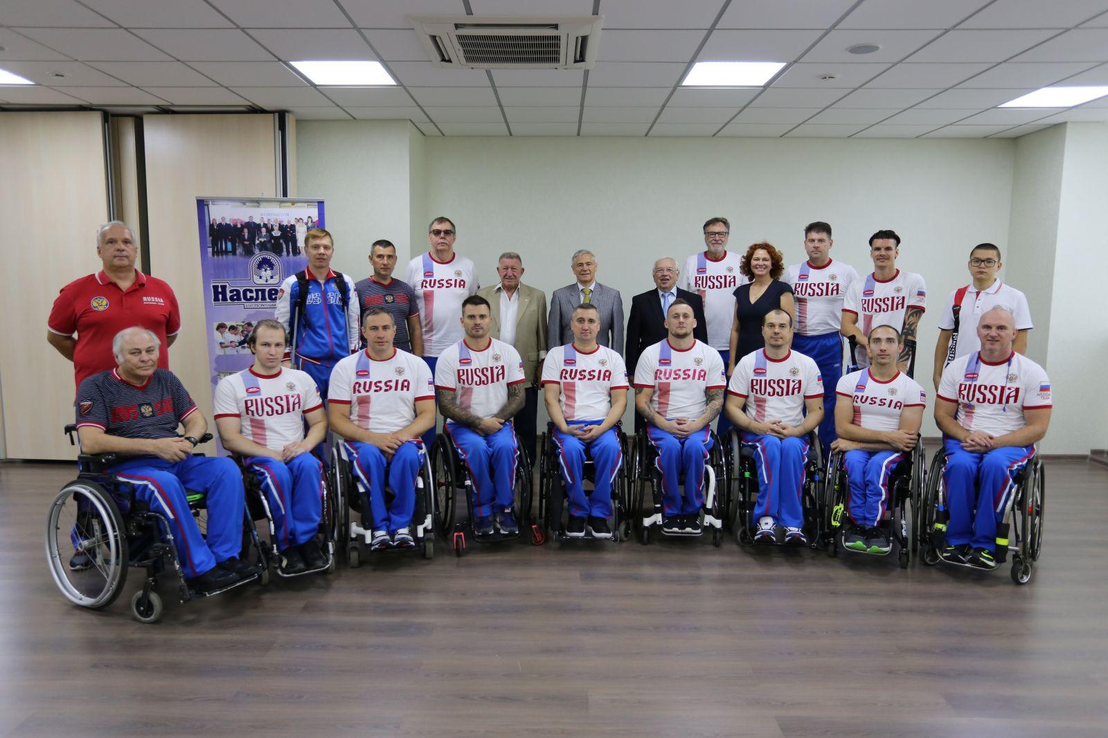 В.П. Лукин, П.А. Рожков в офисе ПКР встретились со сборной командой России по баскетболу на колясках в преддверии Чемпионата Европы в дивизионе А