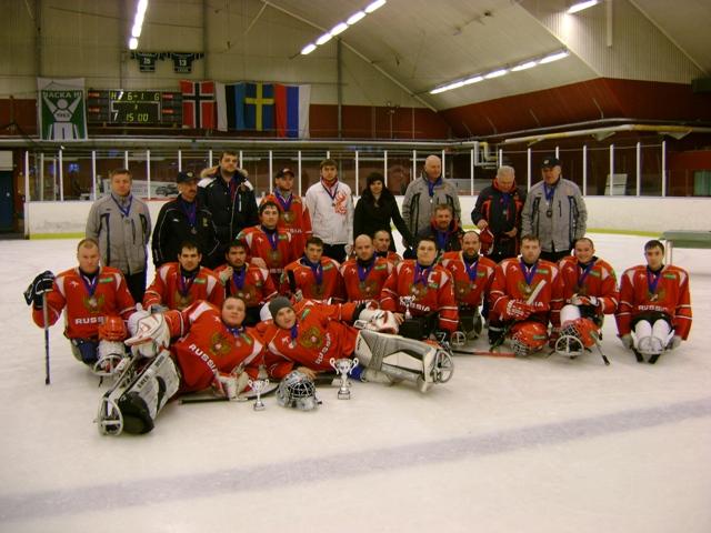 Сборная команда России  по хоккею-следж  приняла участие  в  Международном  турнире  по хоккею - следж в Швеции
