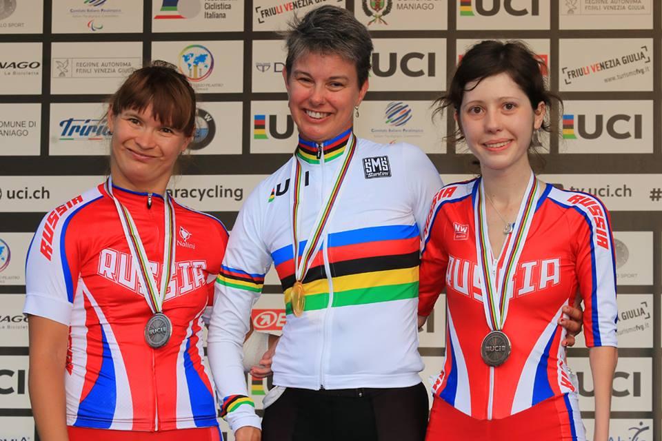 Российские спортсмены завоевали 1 золотую, 5 серебряных и 2 бронзовые медали по итогам 3-х дней чемпионата мира по велоспорту среди лиц с ПОДА и нарушением зрения в Италии