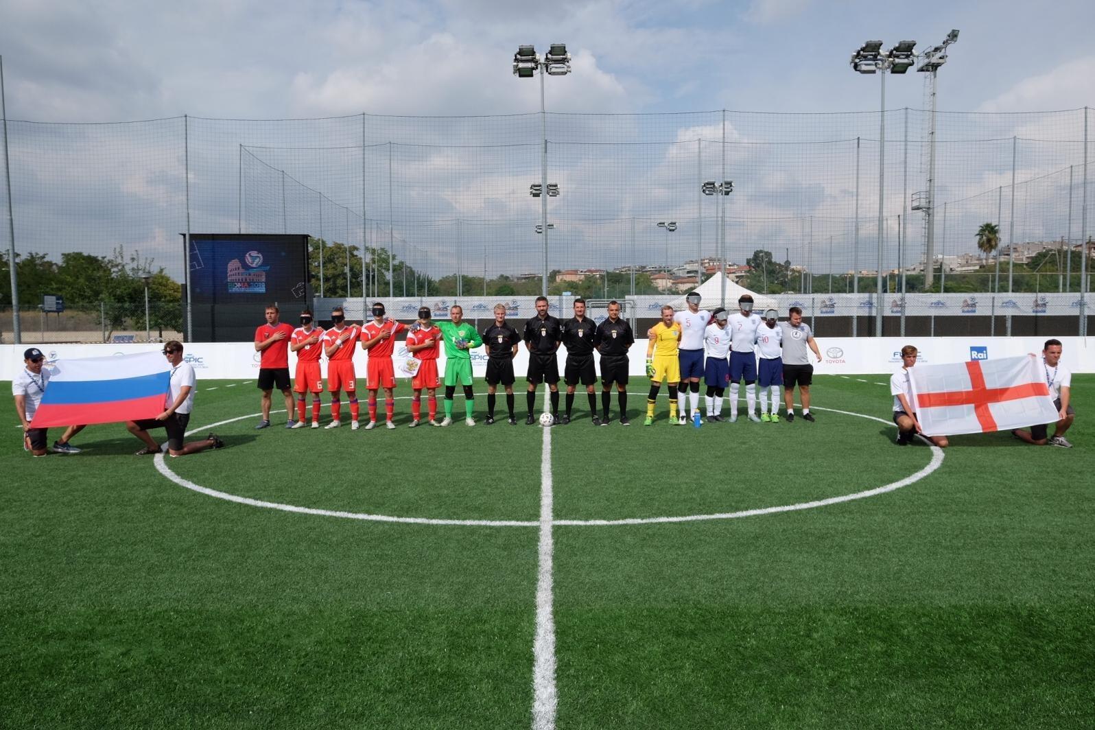 Сборная команда России по мини-футболу 5х5 класс В1 (тотально-слепые спортсмены) сыграла вничью со сборной Великобритании в третьем матче чемпионата Европы в Италии