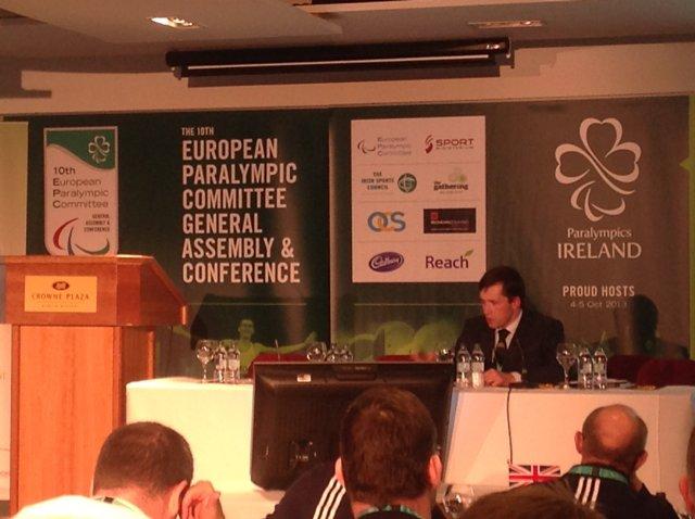 """М. Б. Терентьев в г. Дублине (Ирландия)  в ходе  Конференции  Европейского паралимпийского  комитета  выступил  с докладом """"Мы не одиноки: деятельность по улучшению сотрудничества и узнавания ЕПК"""""""