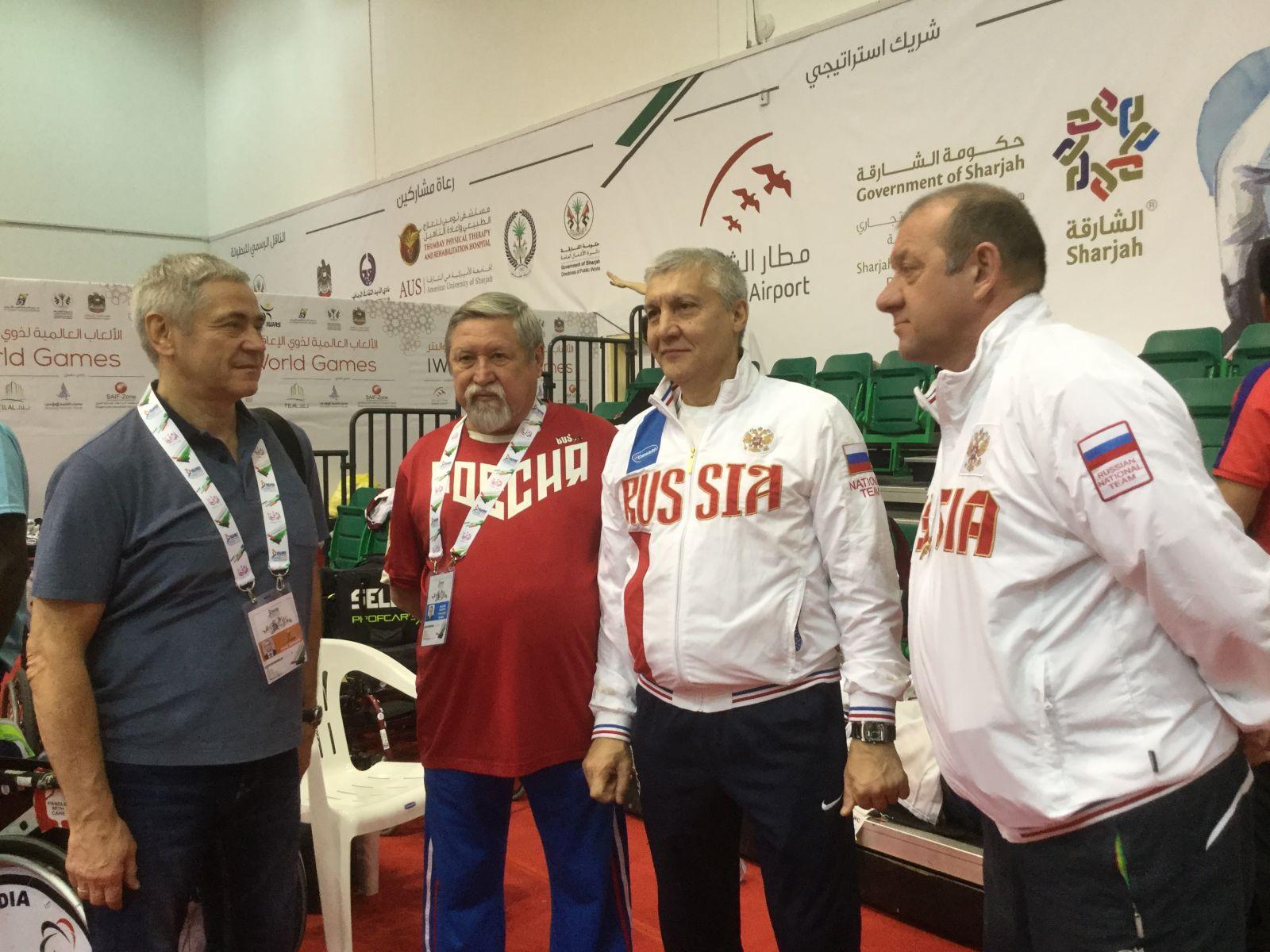 П.А. Рожков в г. Шарджа (ОАЭ) принял участие в просмотре первого соревновательного дня по фехтованию на колясках в рамках Всемирных игр колясочников и ампутантов (IWAS)