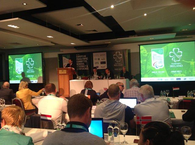 В. П. Лукин,  П. А. Рожков, М. Б. Терентьев в г. Дублине (Ирландия) принимают участие в Конференции Европейского паралимпийского комитета