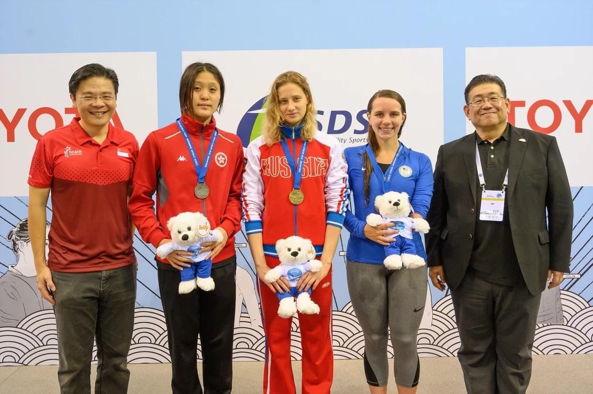 4 золотые, 4 серебряные, 5 бронзовых медалей завоевала сборная команда России по плаванию спорта лиц с ПОДА и ЛИН в 5-м турнире мировой серии в г. Сингапуре