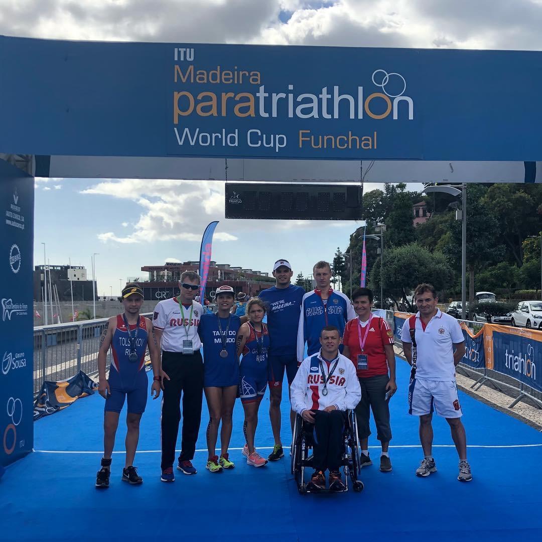 3 серебряные и 1 бронзовую медали завоевали российские паратриатлонисты на этапе Кубка мира в Португалии