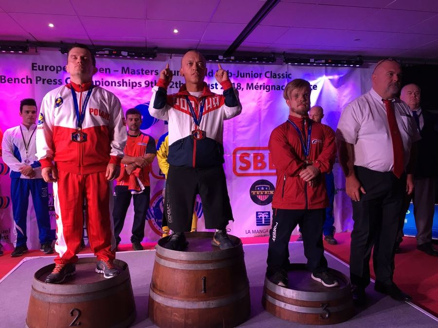 Серебряный призер Паралимпийских игр Владимир Балынец выиграл абсолютный зачет на чемпионате Европы по пауэрлифтингу (классический жим) среди здоровых спортсменов