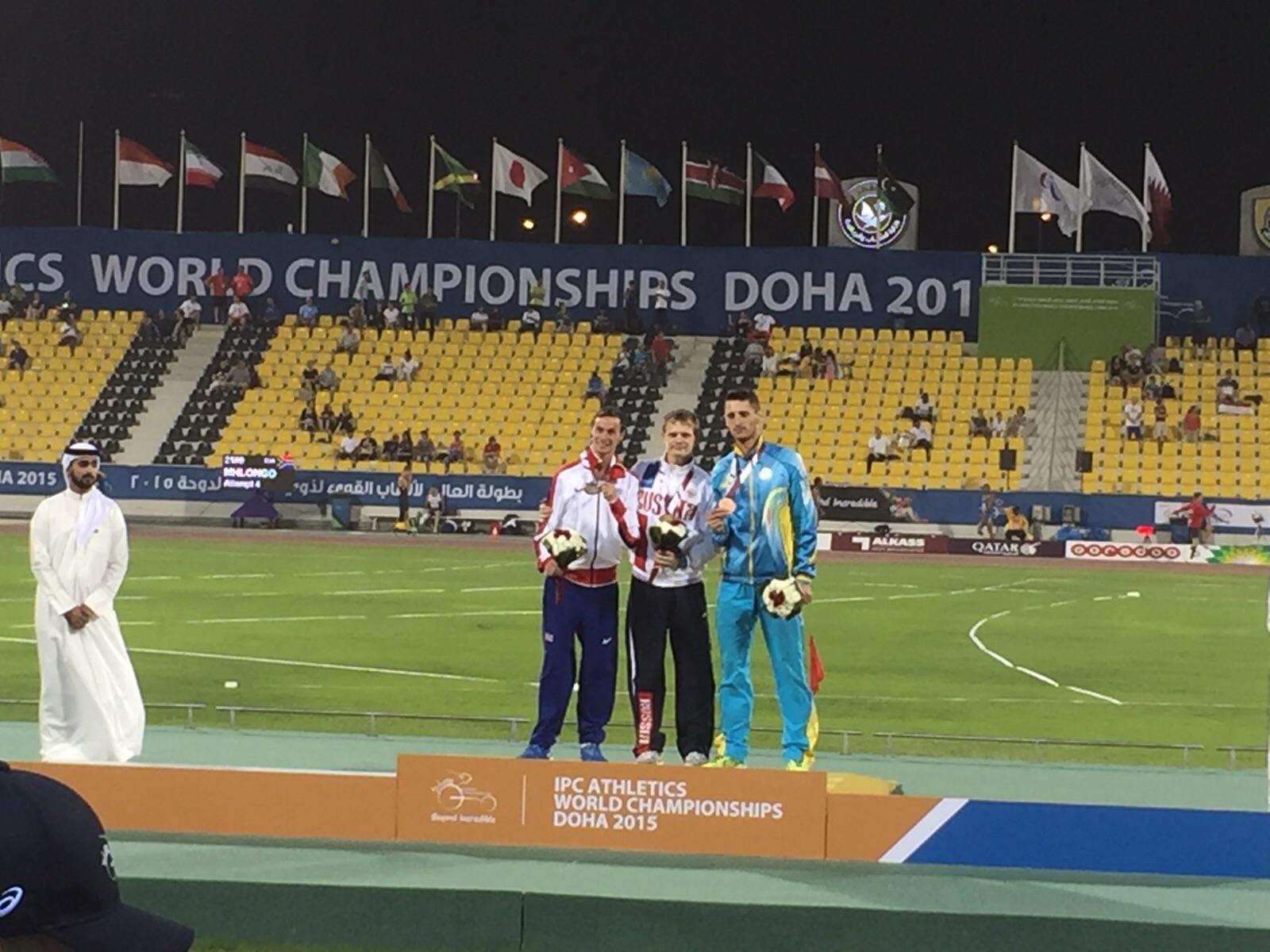 Российские легкоатлеты выиграли 2 золотые, 2 серебряные и 5 бронзовых медалей во второй день чемпионата мира IPC по легкой атлетике в Катаре