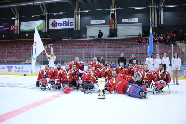 Сборная России триумфально завершила турнир в Эстерсунде, впервые став чемпионом Европы по хоккею-следж