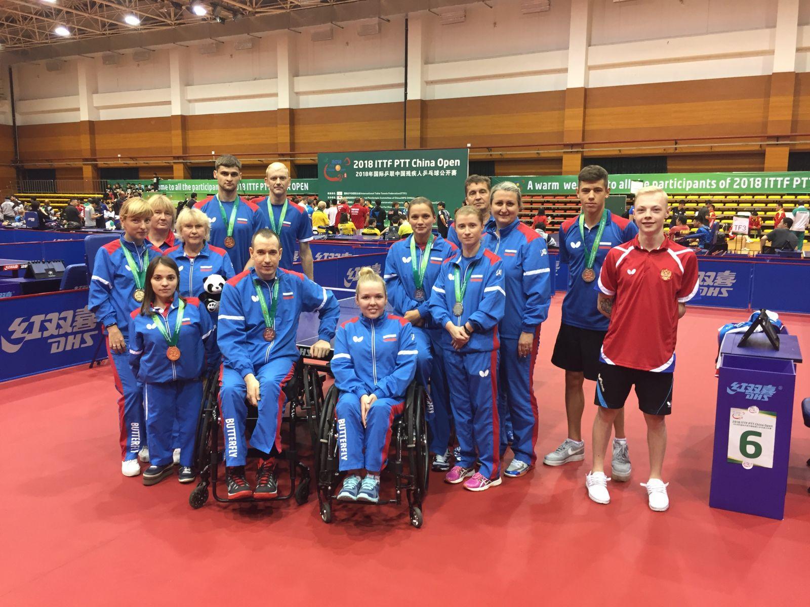 2 золотые, 2 серебряные и 6 бронзовых медалей завоевала сборная команда России по настольному теннису спорта лиц с ПОДА на международных соревнованиях в Китае