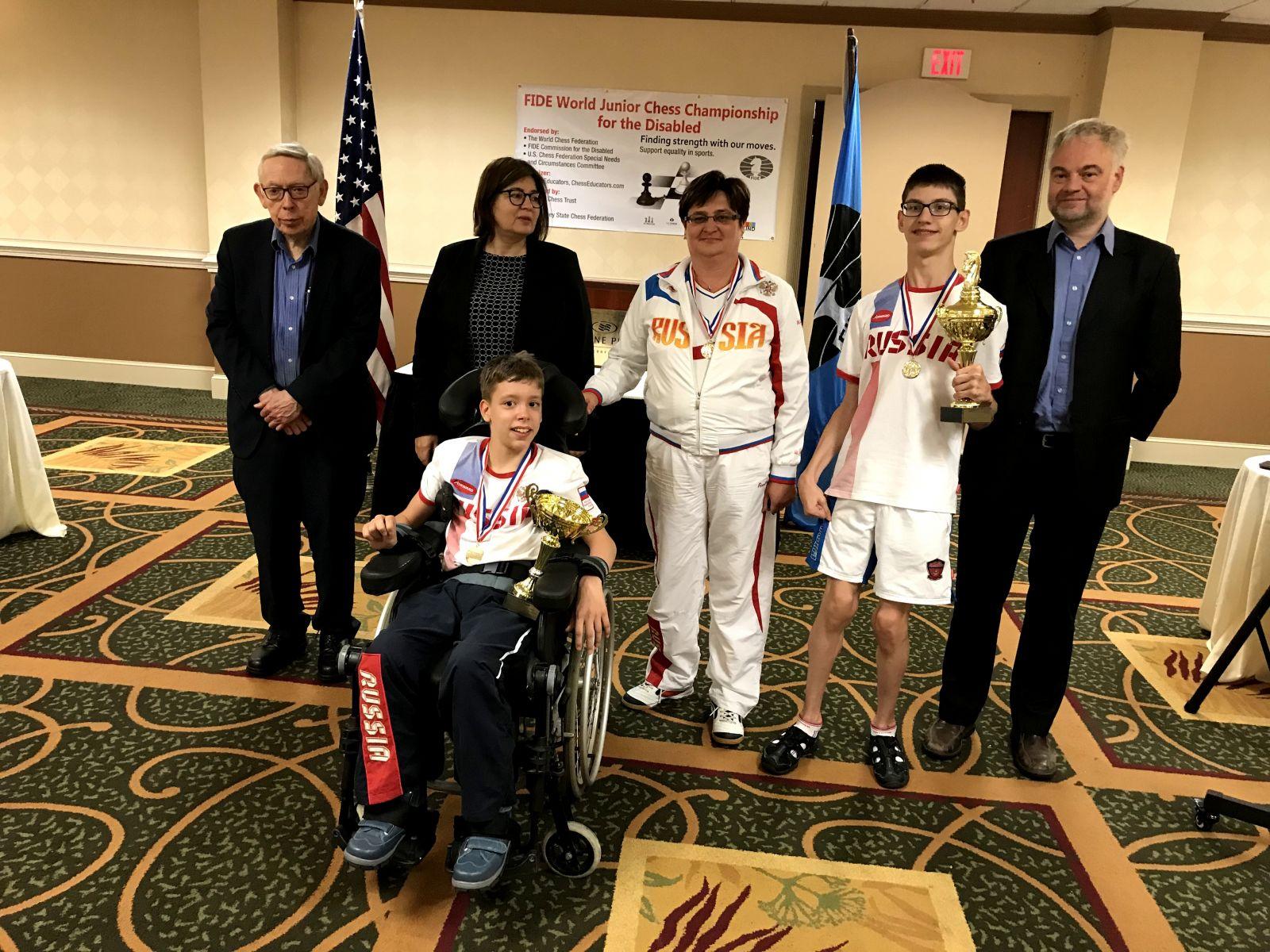 Сборная команда России по шахматам спорта лиц с ПОДА выиграла общекомандный зачет на первенстве мира в США
