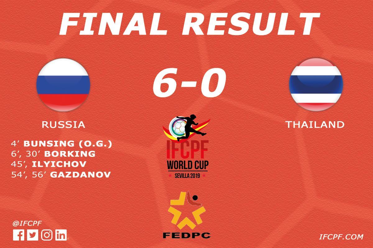 Сборная команда России по футболу с ЦП нанесла поражение Таиланду в первом матче чемпионата мира