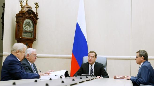 В Доме Правительства РФ состоялась встреча Председателя Правительства РФ Д.А. Медведева с В.П. Лукиным, О.Н. Смолиным
