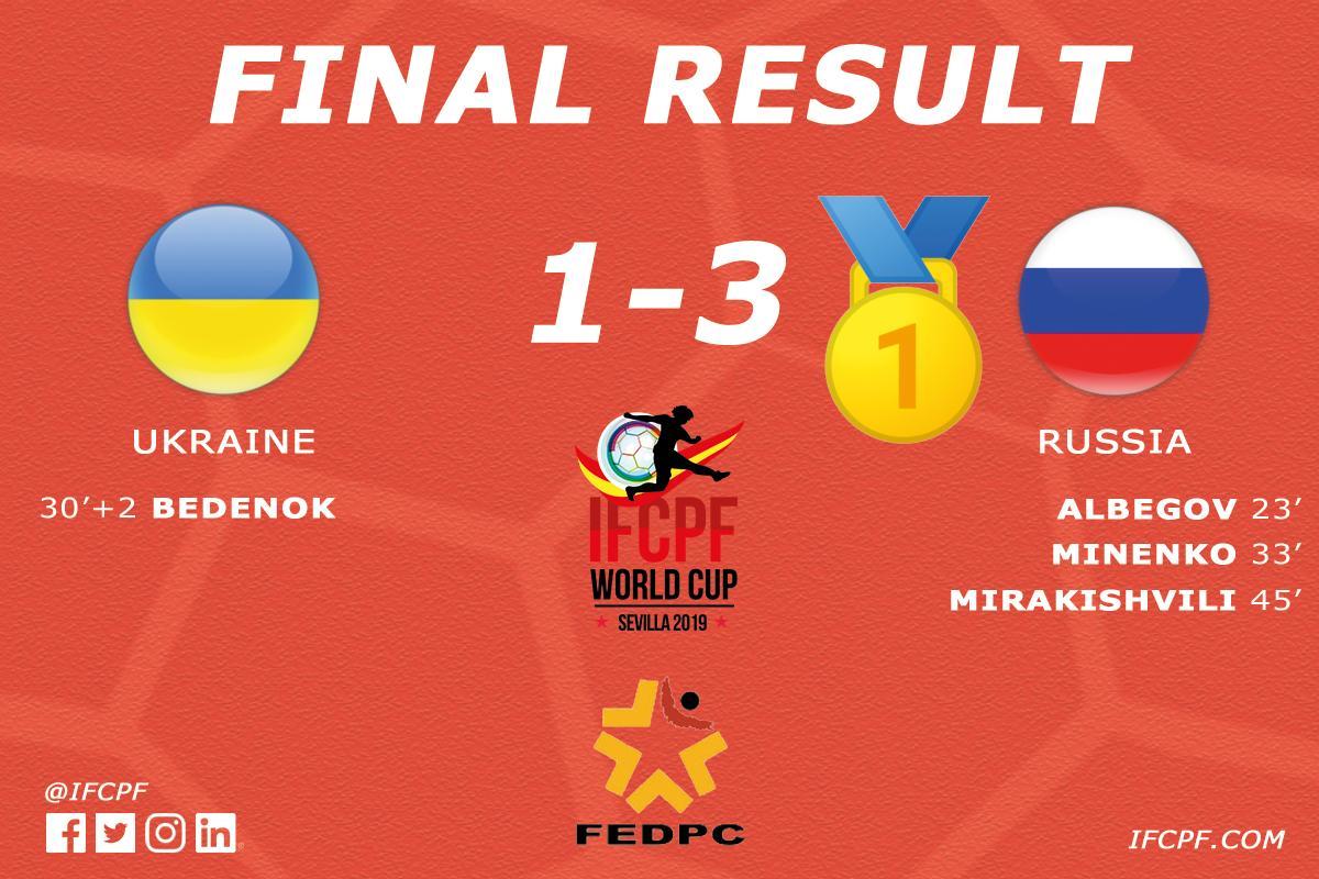 Сборная команда России выиграла чемпионат мира по футболу с ЦП в Испании