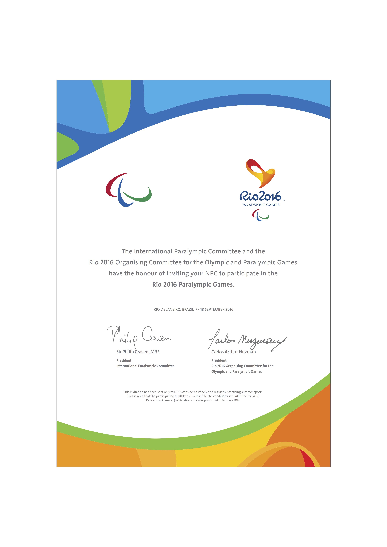 Паралимпийская сборная команда России в лице П.А. Рожкова в рамках семинара Шефов миссии национальных сборных команд на Играх 2016 года получила официальное приглашение для участия в Играх