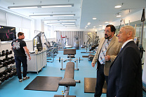 "Pavel Rozhkov in the Sports Technologies Center of the Moscomsport met with the director of the SPI ""Center for Sport Innovation Technologies of National Teams"" of the Department of Sports and Tourism of Moscow "" (Moskomsport) K. Akhmerova, and also got h"